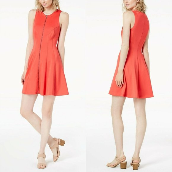 Bar III Dresses & Skirts - Bar III Coral Zip Front Scuba Fit and Flare Dress